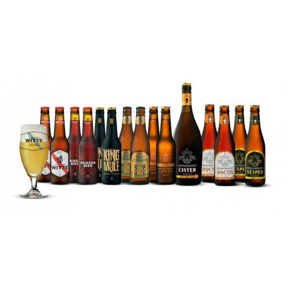 Belga kézműves sörválogatás ajándék pohárral